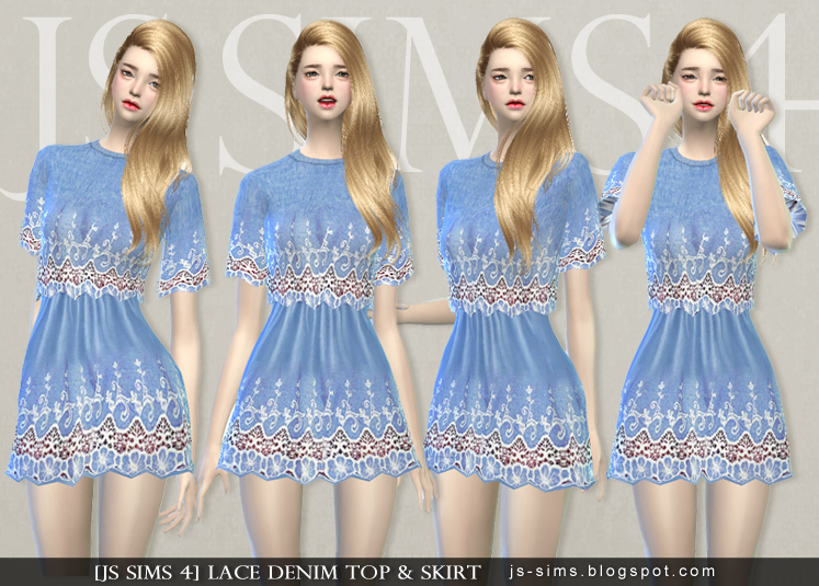 Lace Denim Top & Skirt for Teen & Adult Females by JS Sims 4