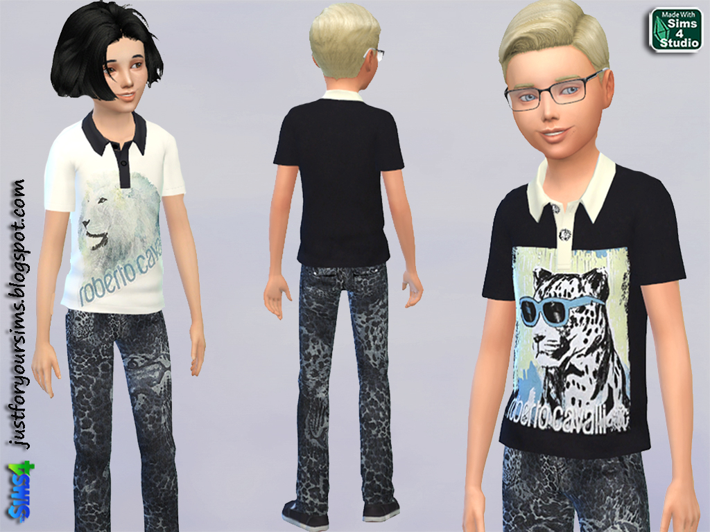 Wild Animals Polo Shirts and Jeans by Just For Your Sims