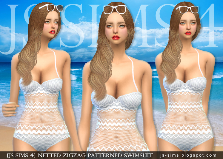 Netted Zigzag Patterned Swimsuit by JS Sims 4