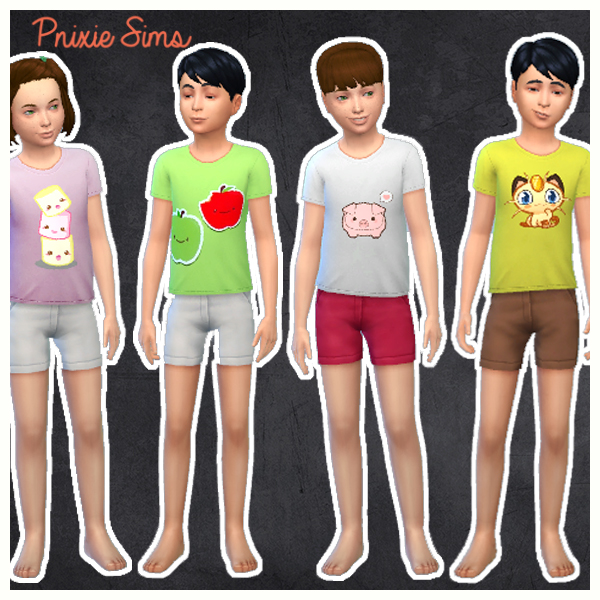 Pnixie Sims  Clothing, Female : Super kawai tee shirt set for kids