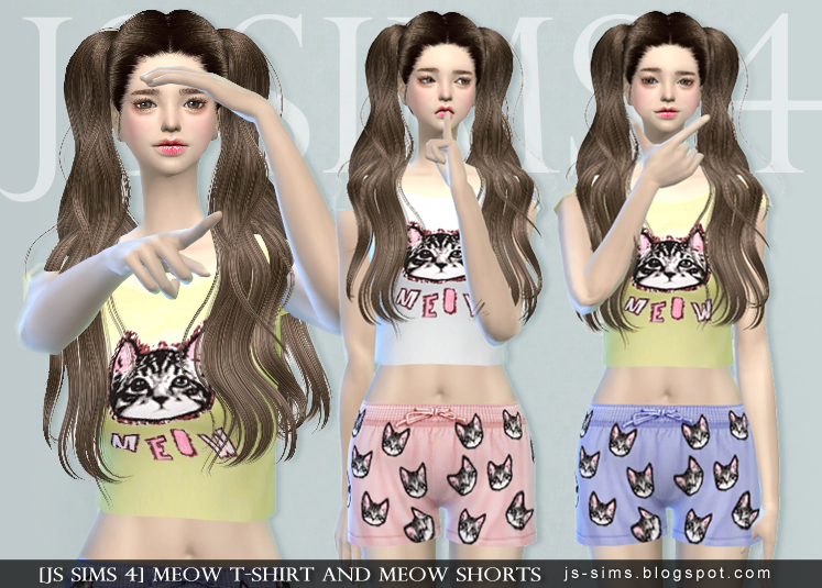 Meow T-shirt And Meow Shorts by JS SIMS 4