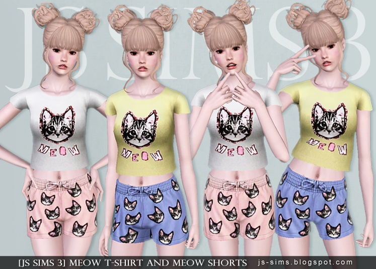 Meow T-shirt And Meow Shorts by JS SIMS