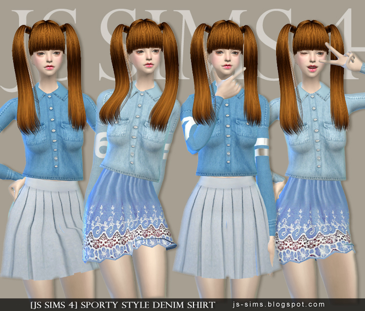 Sporty Style Denim Shirt by JS SIMS 4