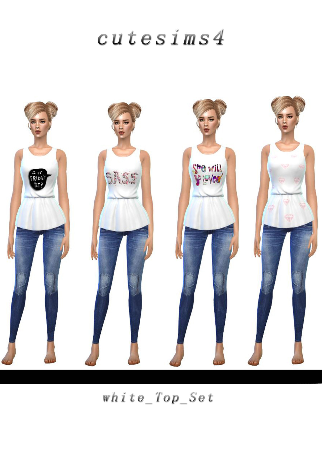 Cute Sims4  Clothing, Female : Casual tops