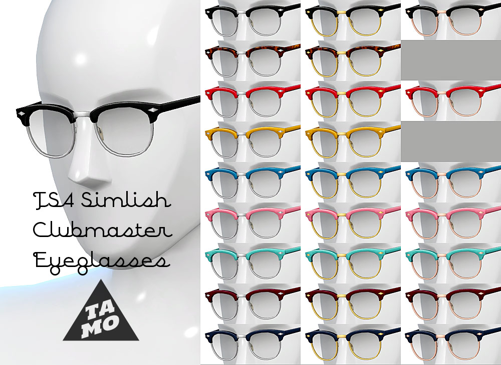 Simlish Clubmaster Eyeglasses for Males & Females by Tamo