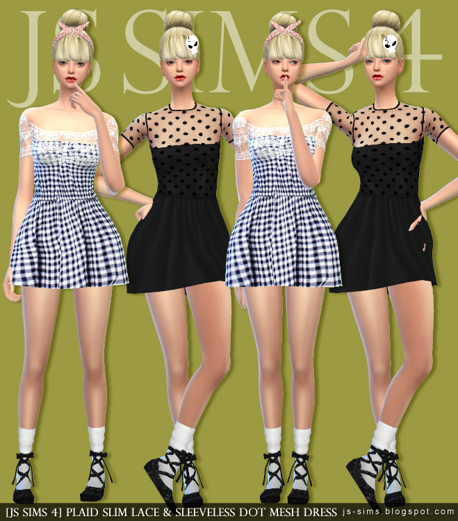Plaid Slim Lace & Sleeveless Dot Mesh Dress by JS SIMS 4