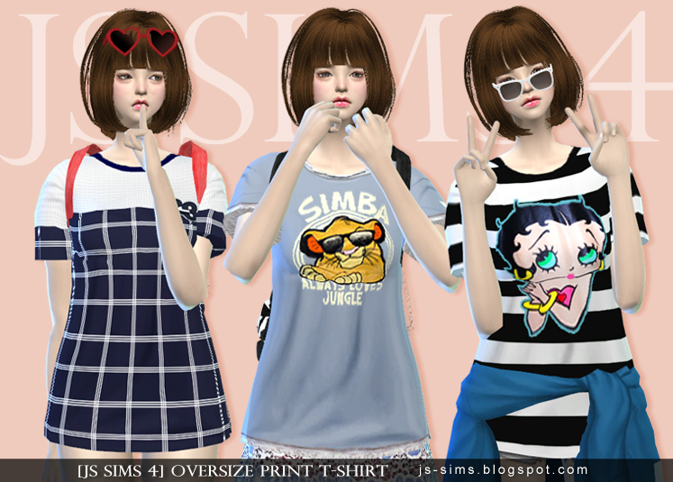 Oversize Print T-Shirt by JS SIMS 4