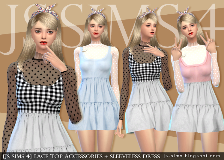 Accessory Lace Top & Sleeveless Dress by JS Sims 4