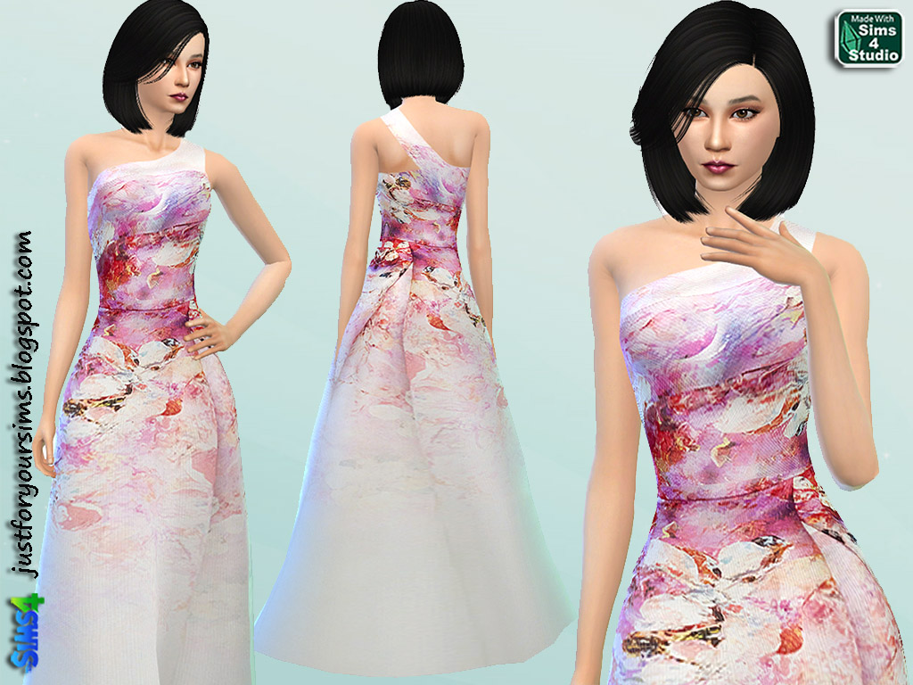 Floral One Shoulder Gown by Just For Your Sims