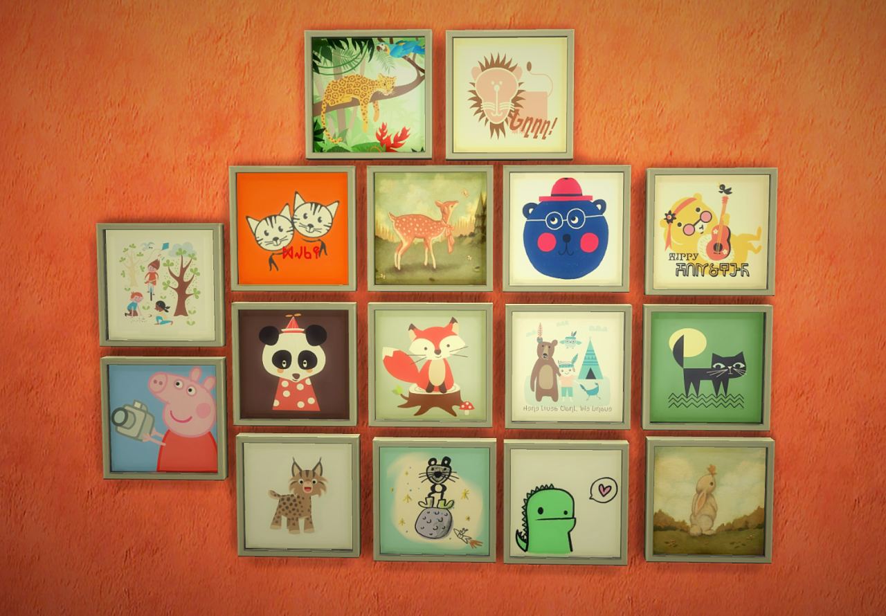 Budgie2budgie  Objects, Decor : Paintings for kids the square edition