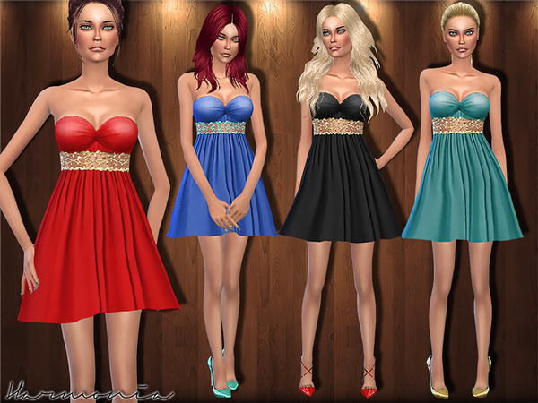 Metal-Waistband Cocktail Dress by Harmonia