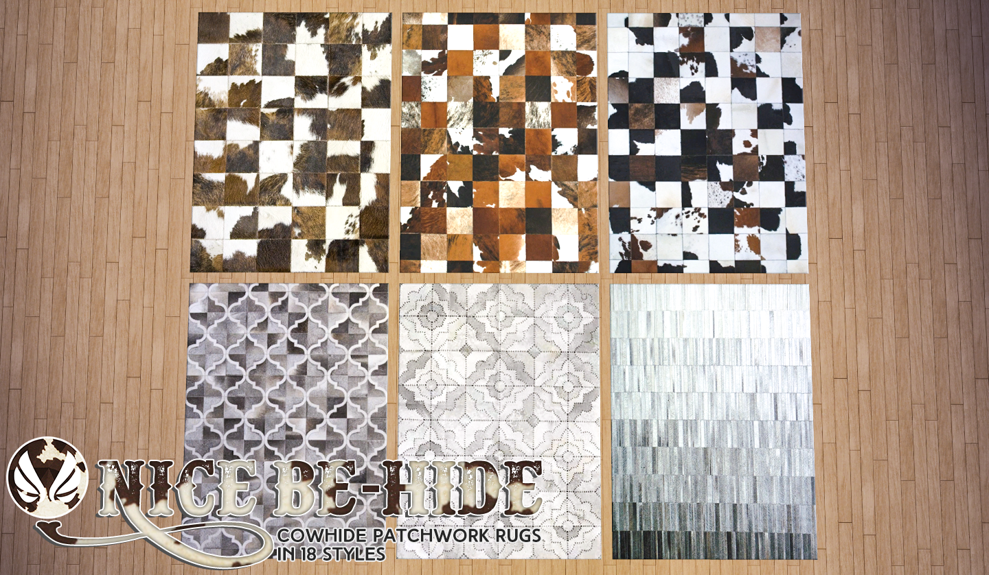 Nice Be-Hide Leather Patchwork Rugs by Peacemaker ic