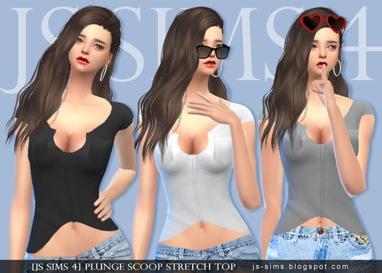 Plunge Scoop Stretch Top by JS Sims 4