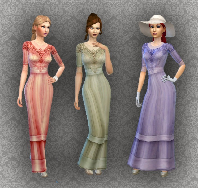 TS2 - Edwardian Fashion Conversion for Teen - Elder Females by Kiara24