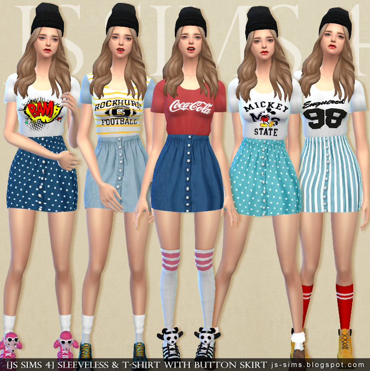 Sleeveless & T-Shirt With Button Skirt by JS Sims 4
