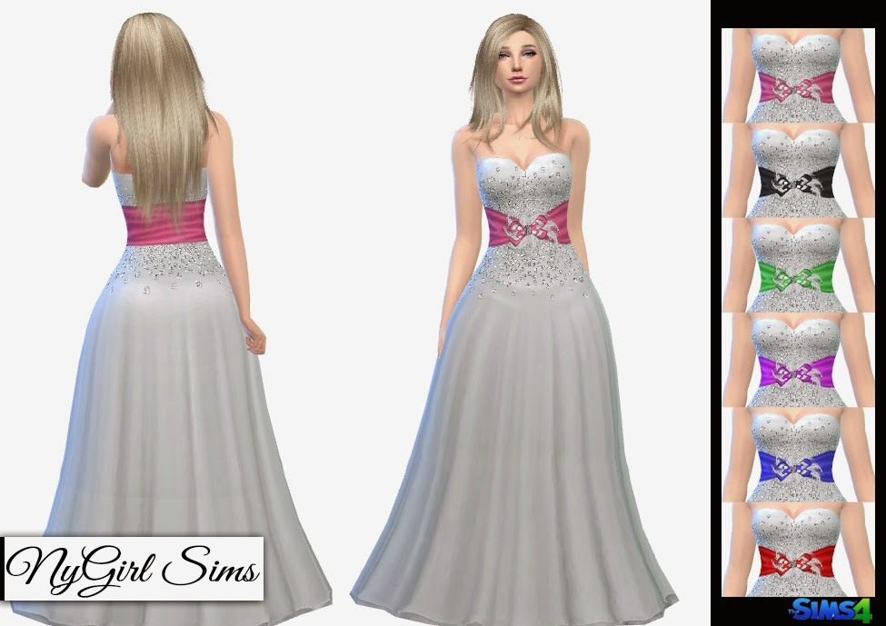 Diamond Encrusted Bow and Feather Formal Dress by NyGirl