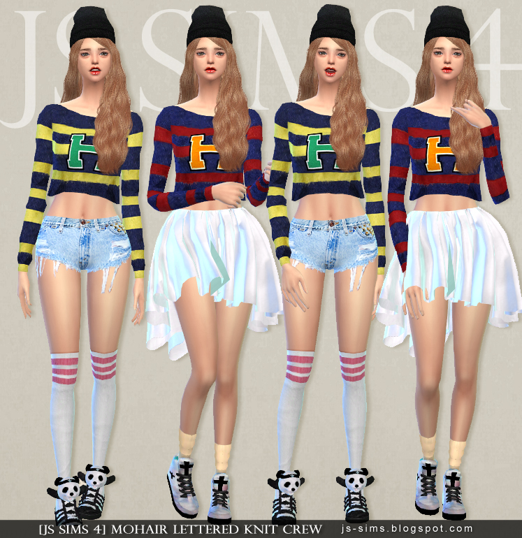 Mohair Lettered Knit Crew by JS Sims 4