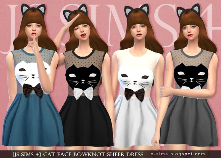 Cat Face Bowknot Sheer Dress by JS Sims 4