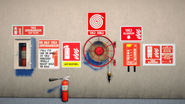 Fire Signs And Fire Extinguisher by Budgie2budgie