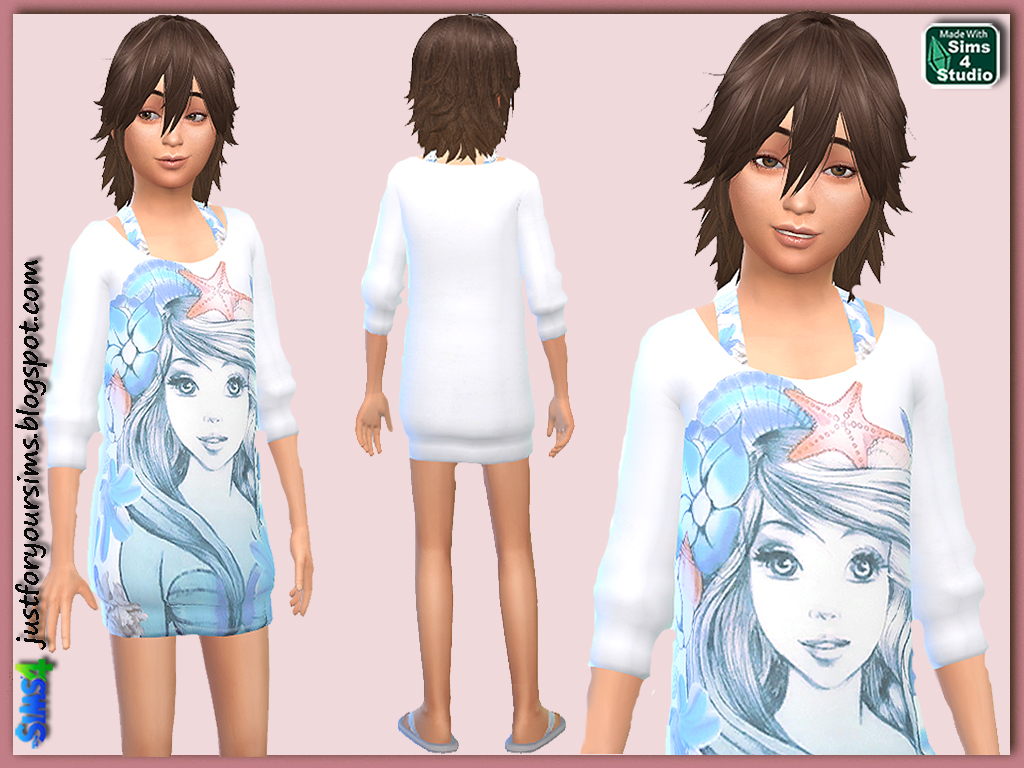 Mermaid Print Sweater Dress for Girls by Just For Your Sims