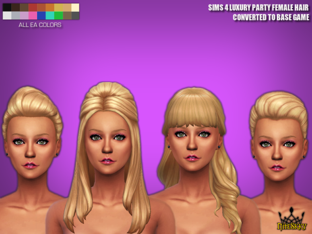 Base Game Compatible Luxury Party Hair by NiteSkkySims