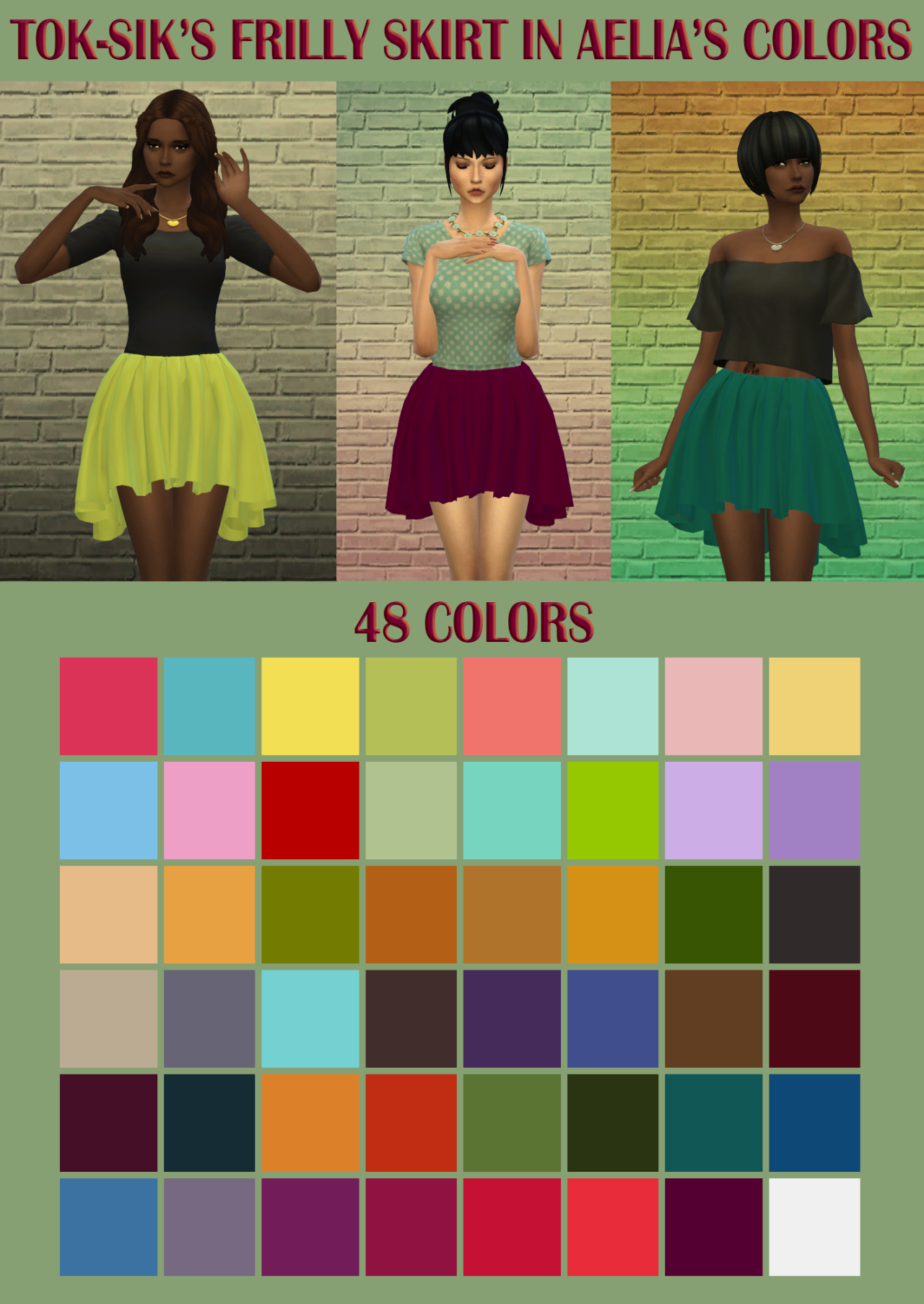 TokSik Frilly Skirt in Aelia's Colors by Amylet