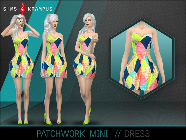 Patchwork Mini Dress by SIms4Krampus