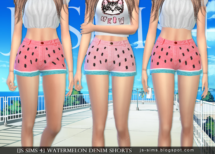 Watermelon Denim Shorts от JS SIMS 4