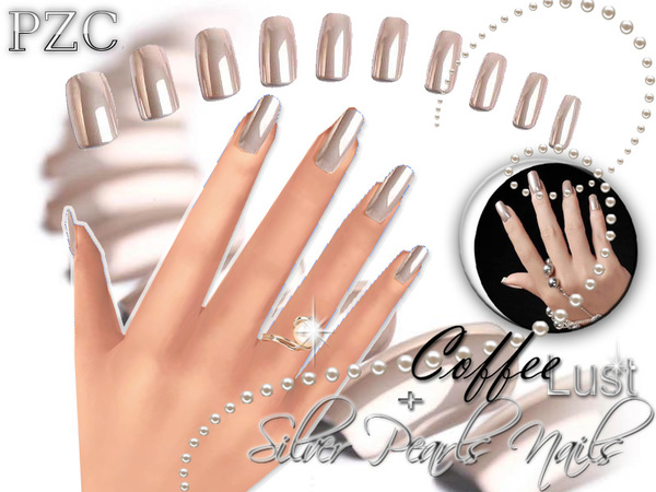 Coffee Lust and Silver Pearls Nails by Pinkzombiecupcakes