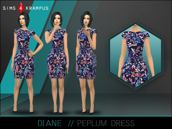 Diane Peplum Dress by SIms4Krampus