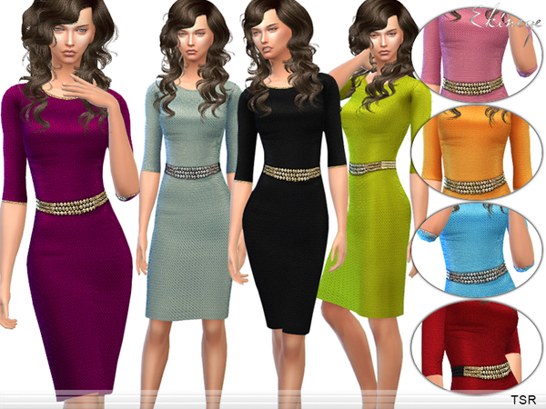 Belted Textured Dress by ekinege