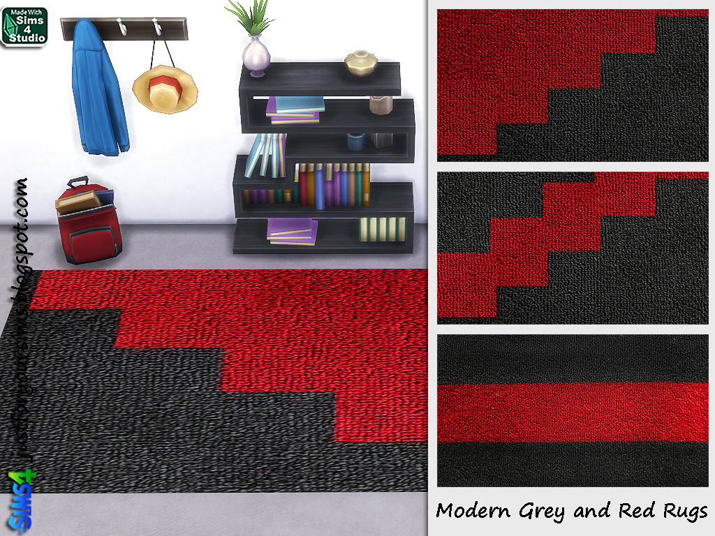 Modern Red and Grey Rugs by Just For Your Sims