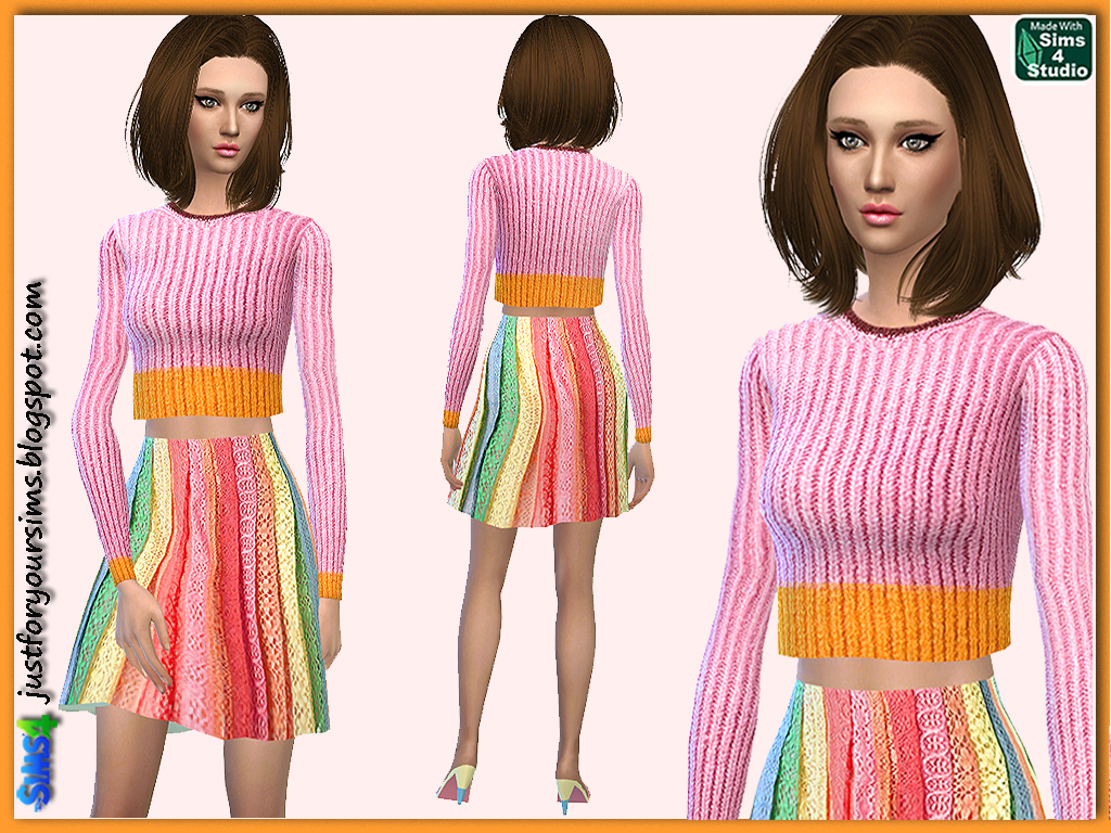 Lace Skirt and Cropped Sweater Set by Just For Your Sims