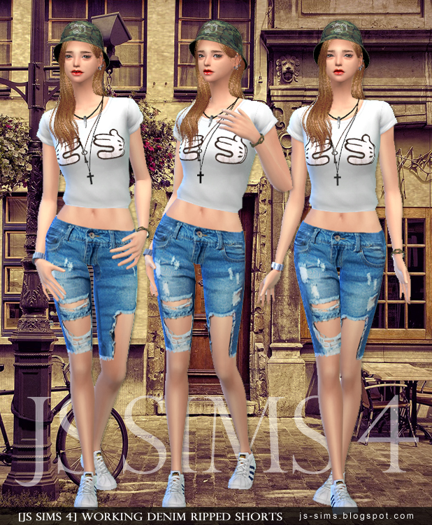 Working Denim Ripped Shorts by JS Sims 4