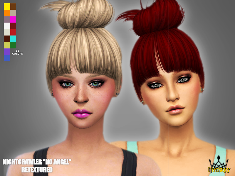 "Retextures of Nightcrawlers ""No Angel"" hair by NiteSkky Sims"