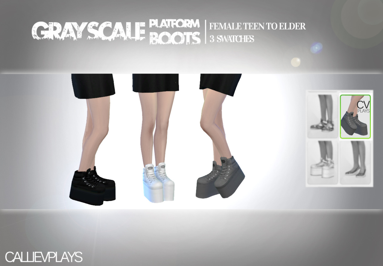 Grayscale Platform Boots for Females by CallieVPlays