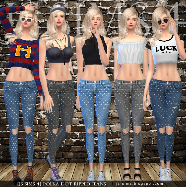 Polka Dot Ripped Jeans by JS SIMS 4