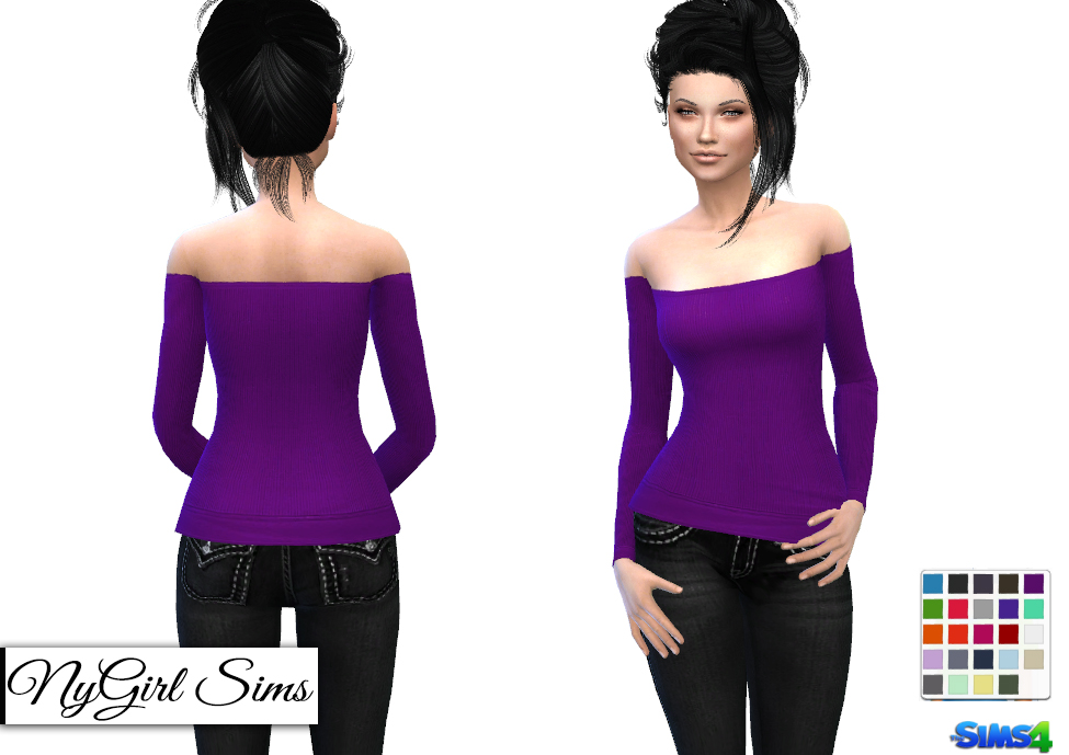 Ribbed Off Shoulder Sweater by NyGirl Sims