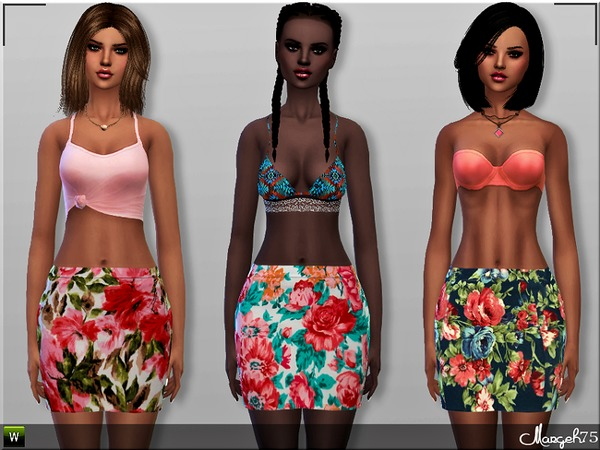 S4 Floral Bodycon Skirts by Margeh-75