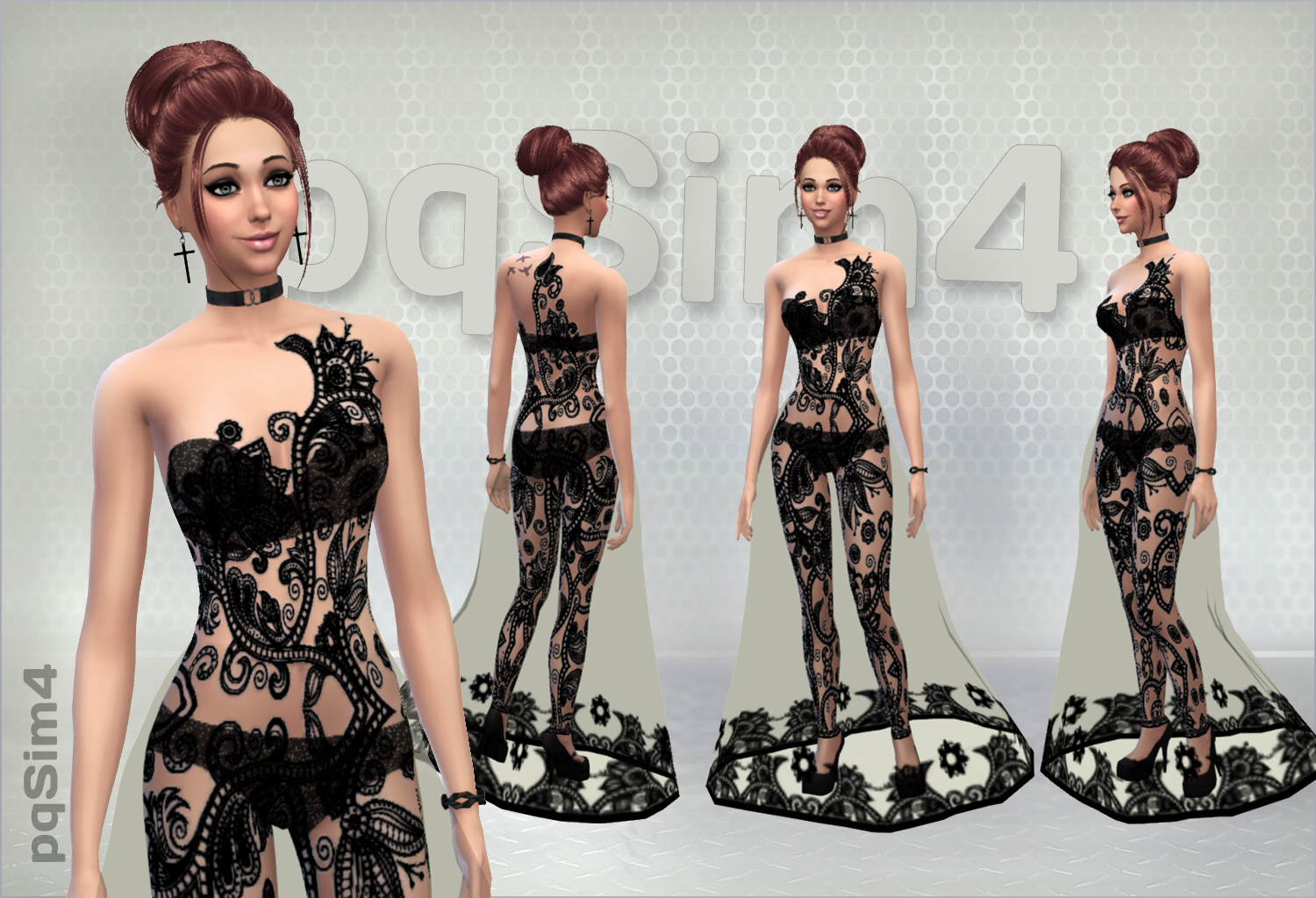 pqSims4  Clothing, Female : Tattoo Evening Gown