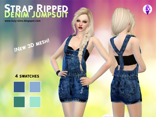 Strap Ripped Denim Jumpsuit by LuxySims3