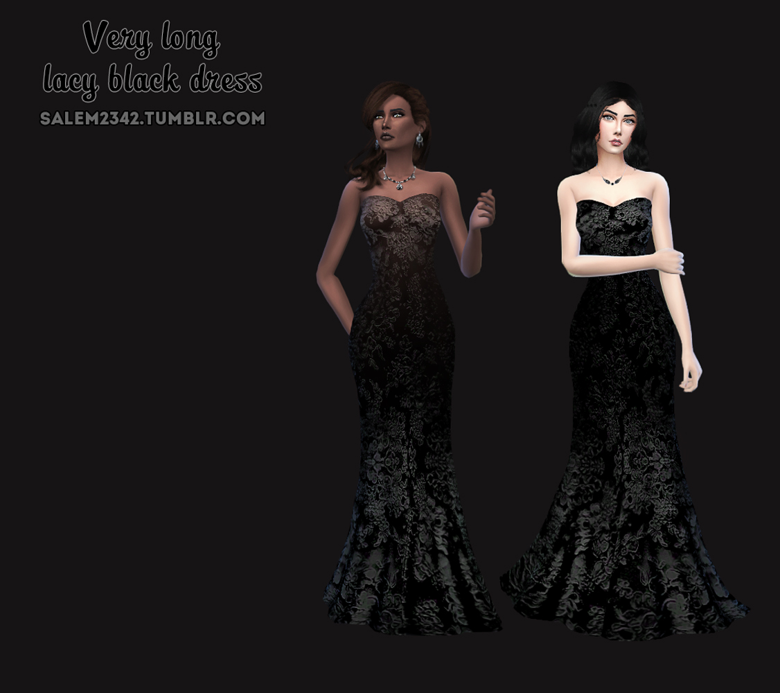 Long Lacy Black Dress by Salem2342