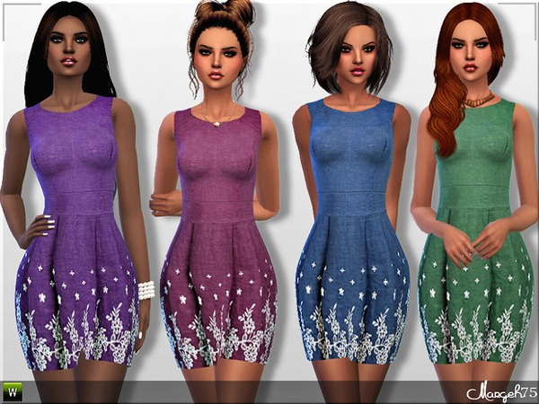 S4 Denim Floral Dress by Margeh-75