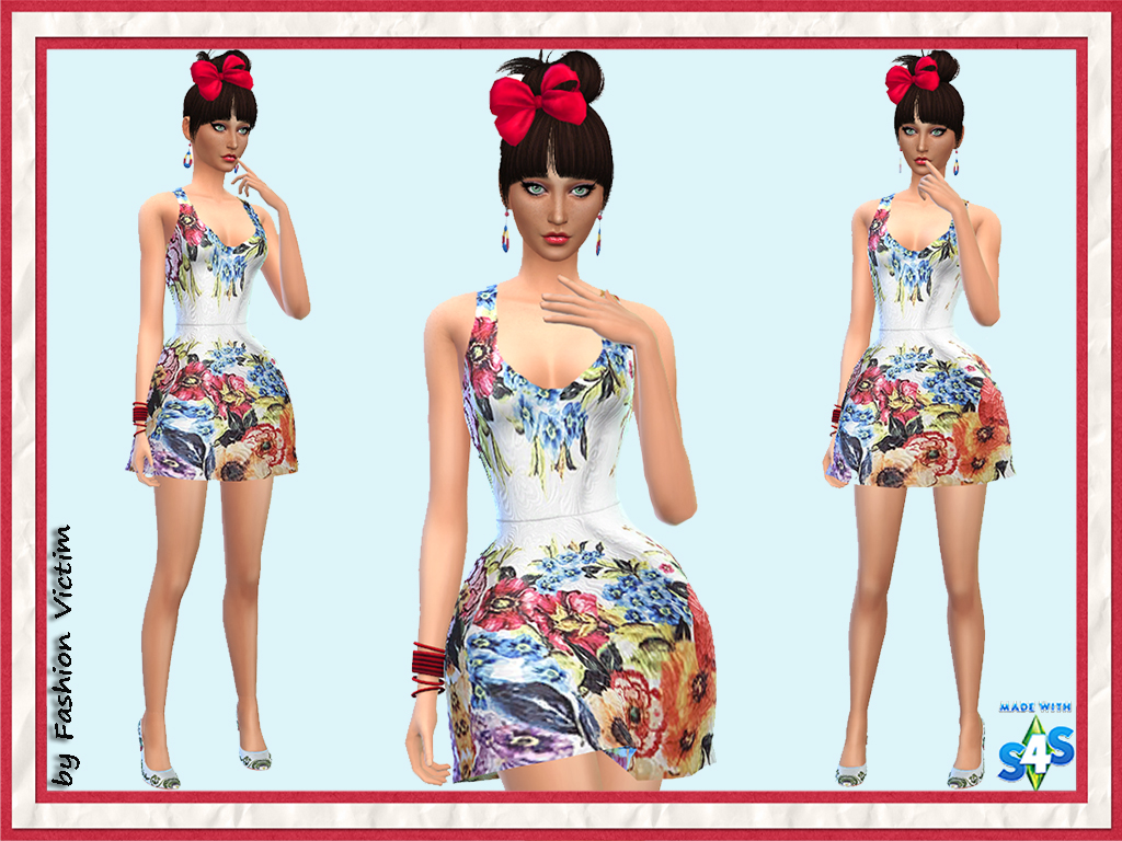 Floral Summer Skater Dress by Just For Your Sims