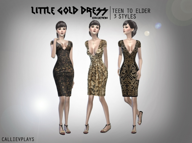 Little Gold Dresses for Teen - Elder Females by CallieV