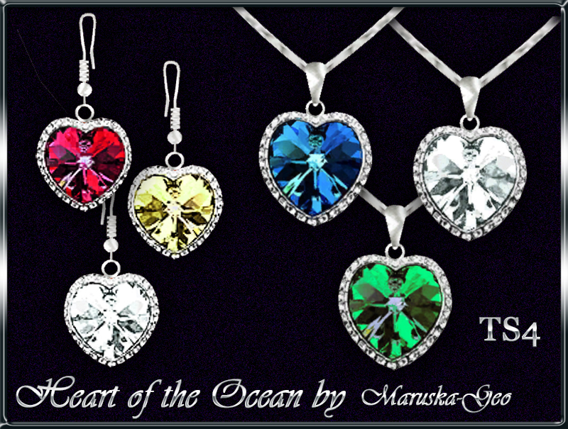 "Necklace and earrings ""Heart of the Ocean"" by Maruska-Geo"