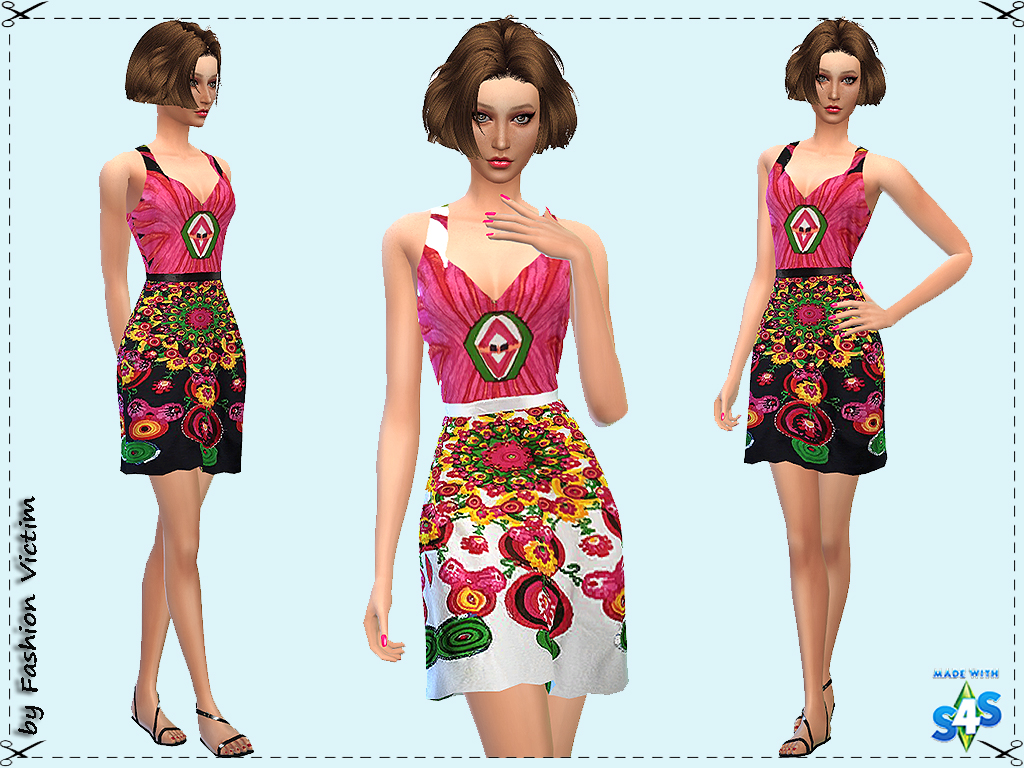 Floral Summer Jersey Dress by Just For Your Sims