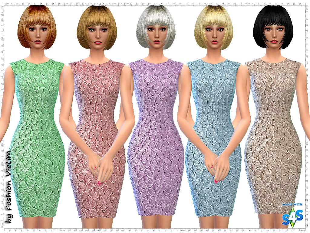 Floral Brocade Lace Dress by Just For Your Sims