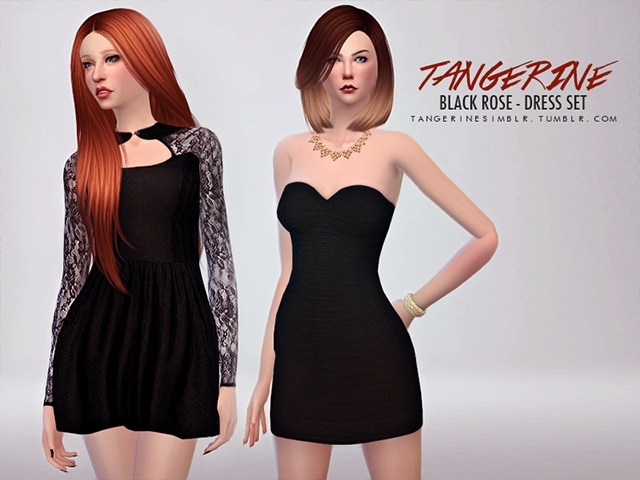 Black Rose Dress Set by Tangerine