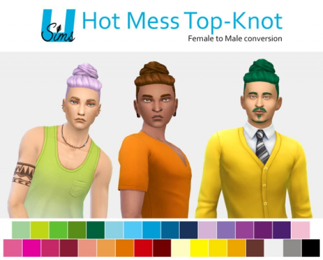 Hot Mess Top-Knot Hair for Males by UnobservantSims